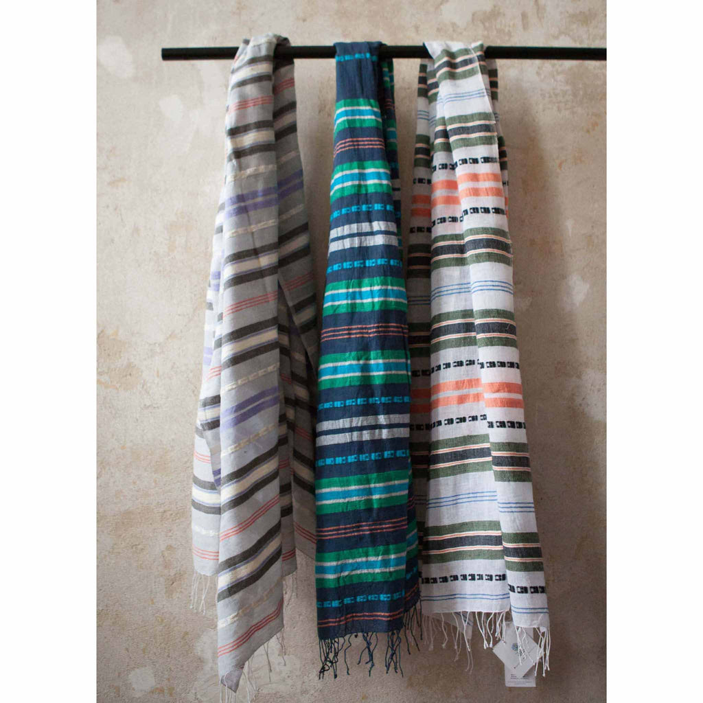Dark Blue Striped Cotton Scarf by Sabahar - summer scarf from Ethiopia - summer accessories