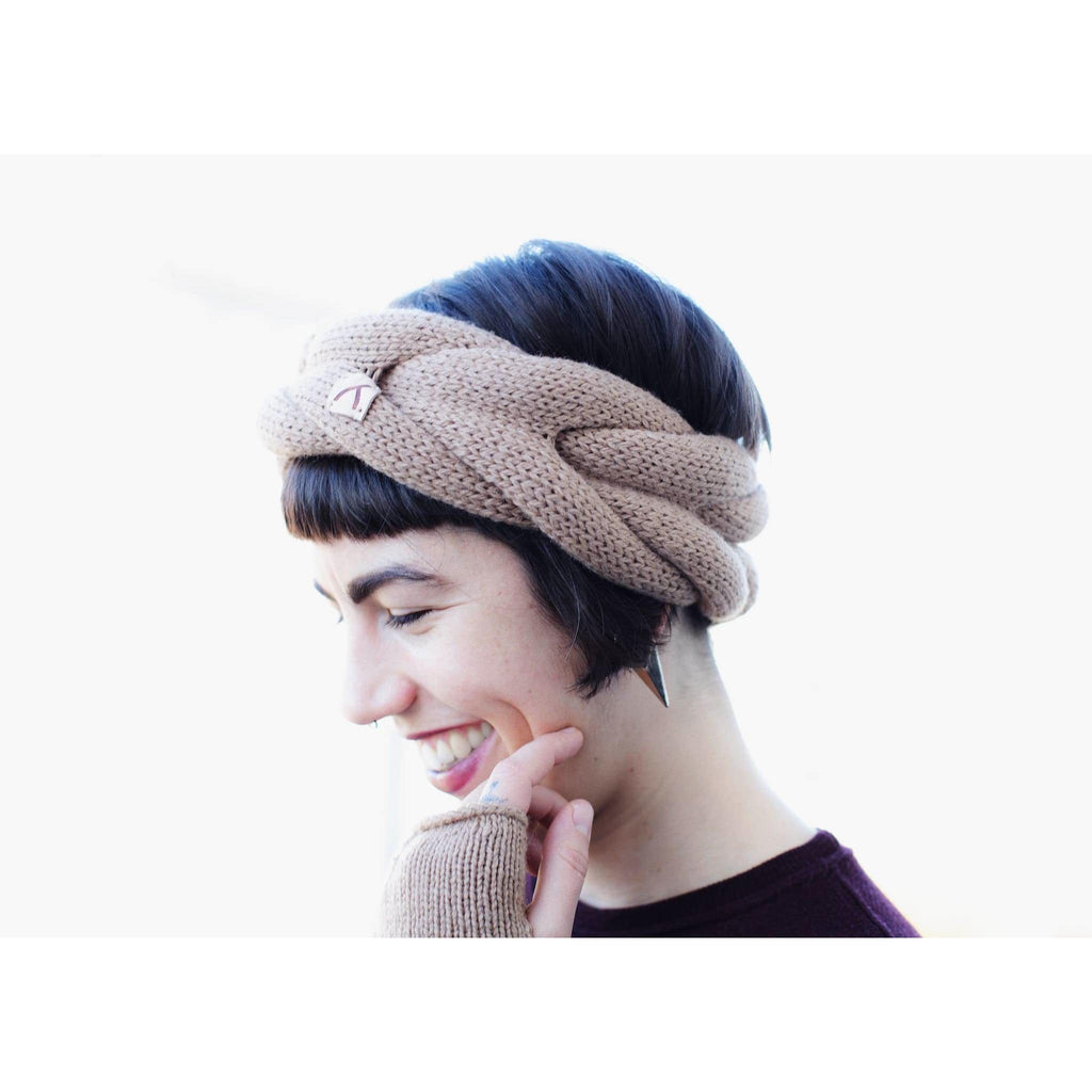 model wearing sand Alpaca Wool Headband and finger-less gloves