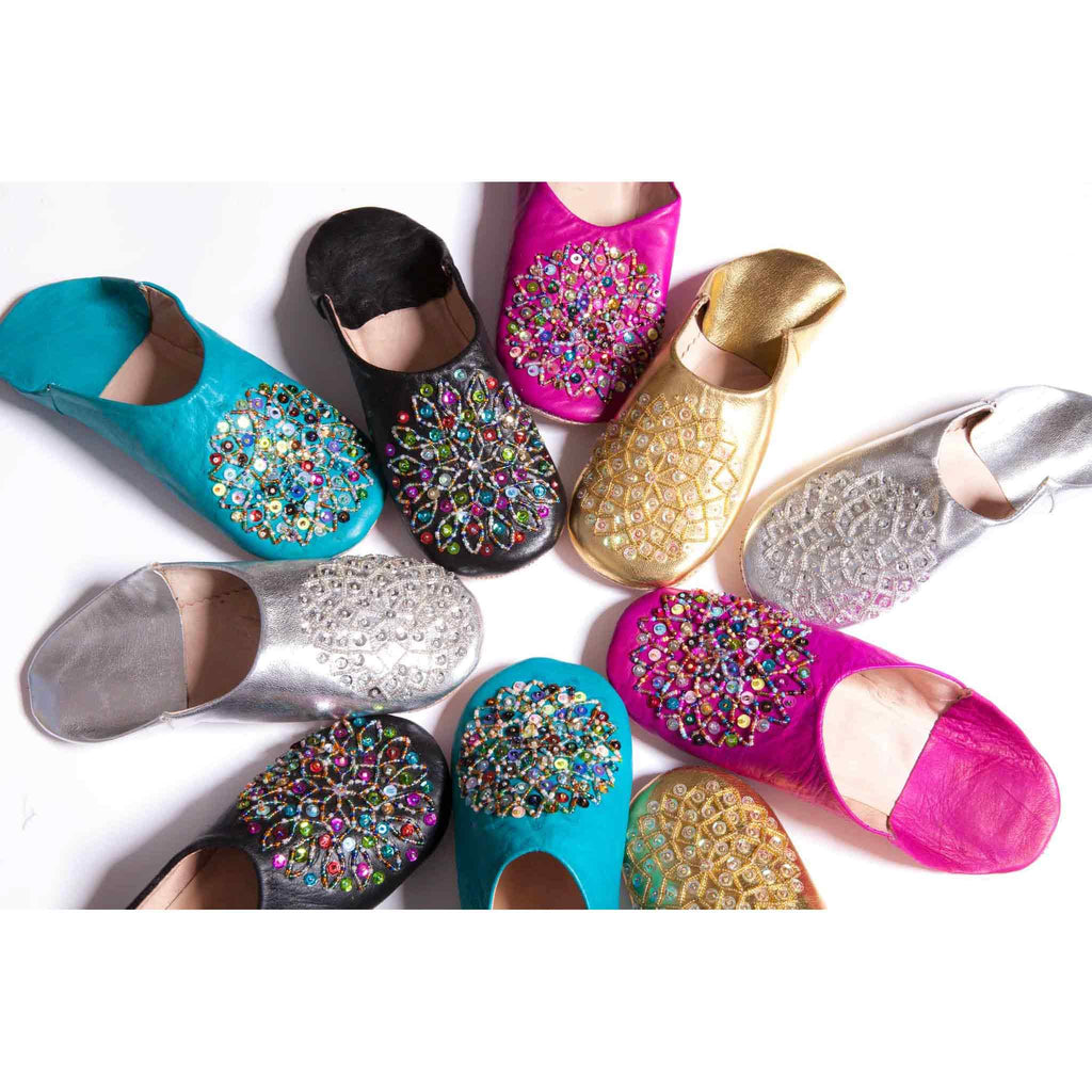 all of the Babouche Leather Slippers with sequins together