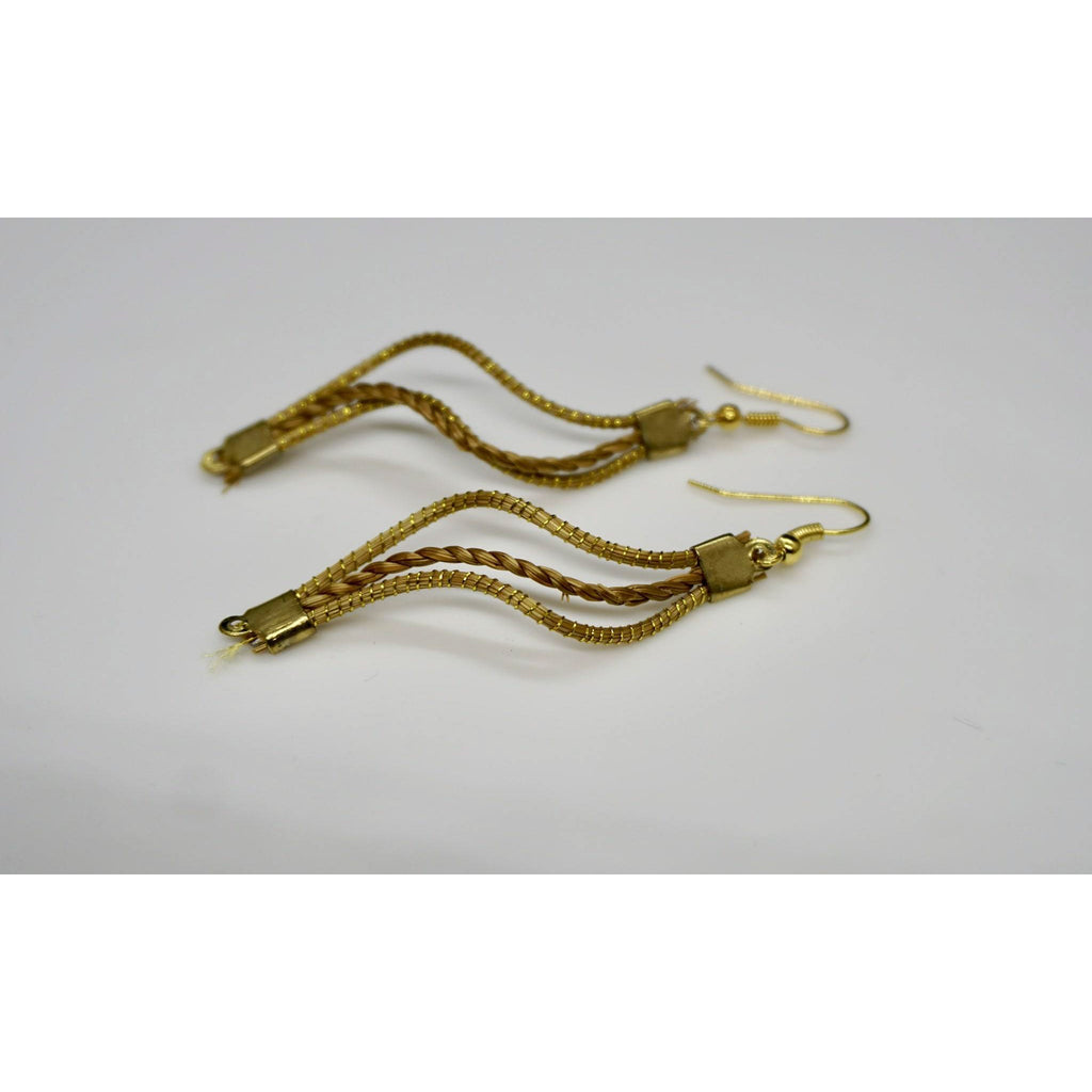 Olinda golden grass earrings by she is from the jungle