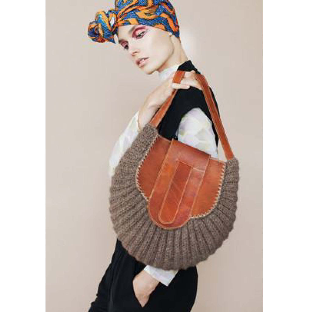 model with a turban wearing Wool and Leather Mini Shoulder Bag Gladys