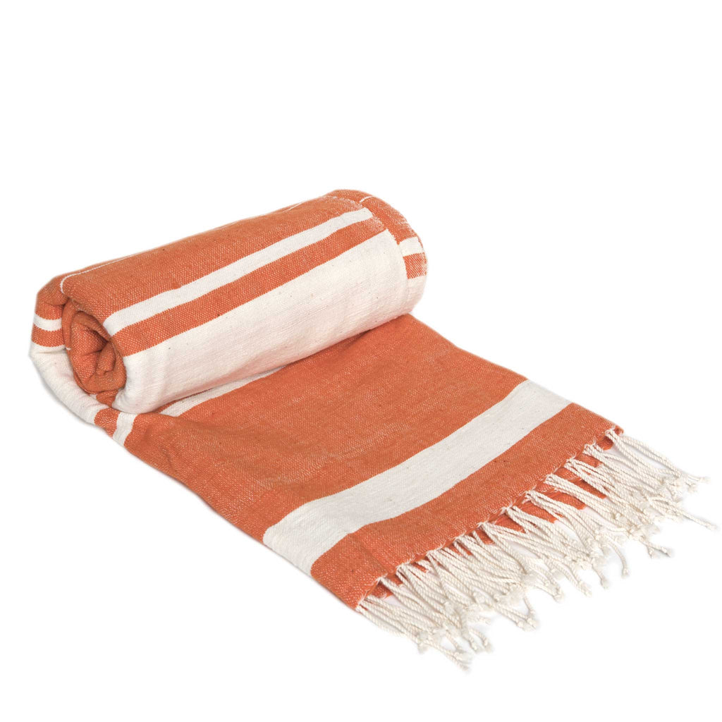 Handmade orange and white cotton beach towel from Ethiopia by Sabahar