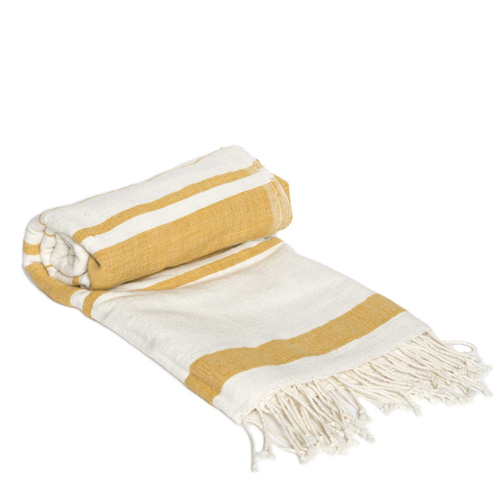 Handmade yellow and white cotton beach towel from Ethiopia by Sabahar