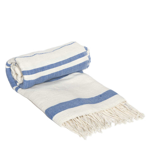 Dark Blue Striped Cotton Scarf by Sabahar