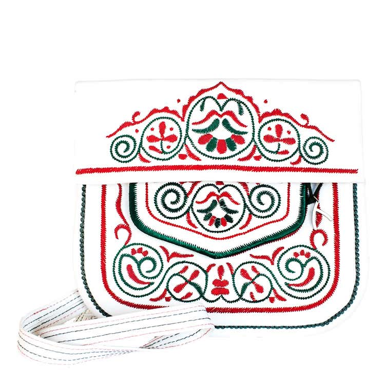 Front view of Leather berber bag in white, red and green by ABURY