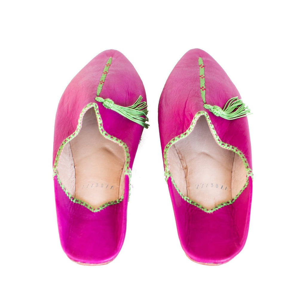 Pink and Green Hard Sole Babouche Leather Slippers