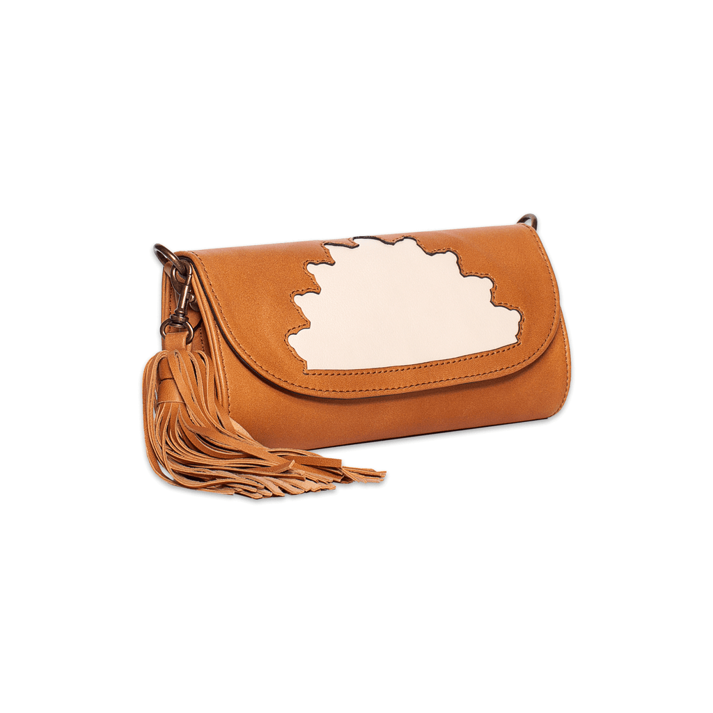 Rehana Camel Leather Clutch Bag side shot