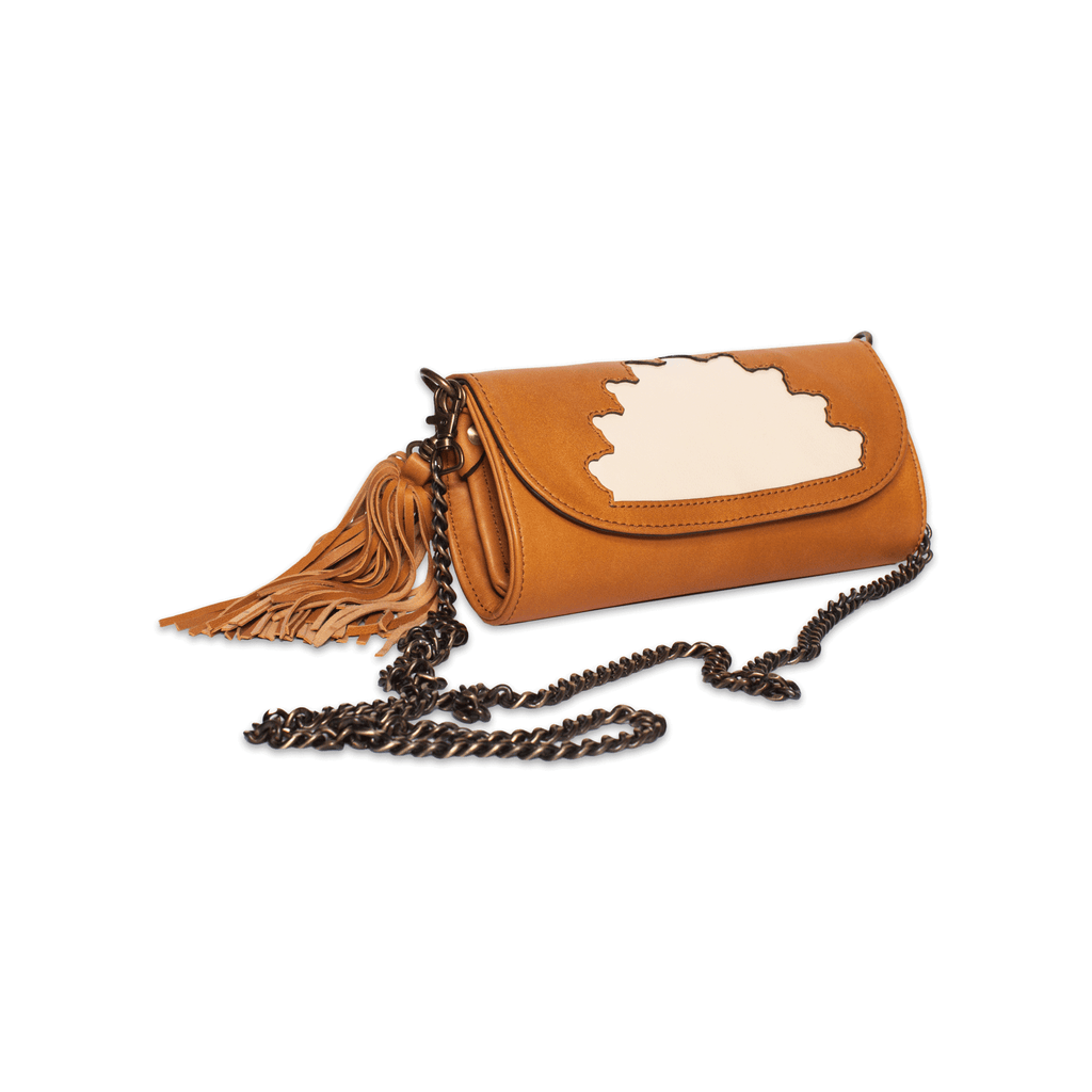 Rehana Camel Leather Clutch Bag side shot with crossing body metal strap