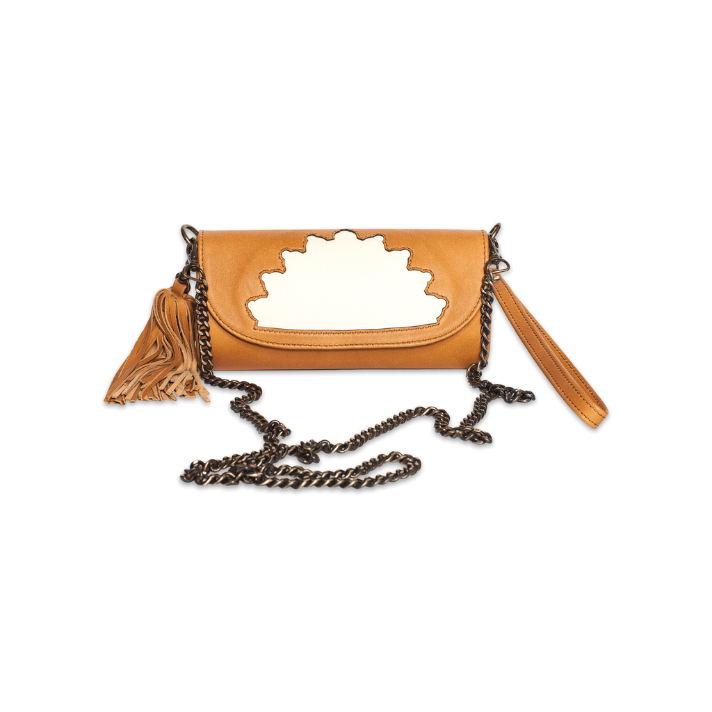 Rehana Camel Leather Clutch Bag front shot with crossing body metal strap
