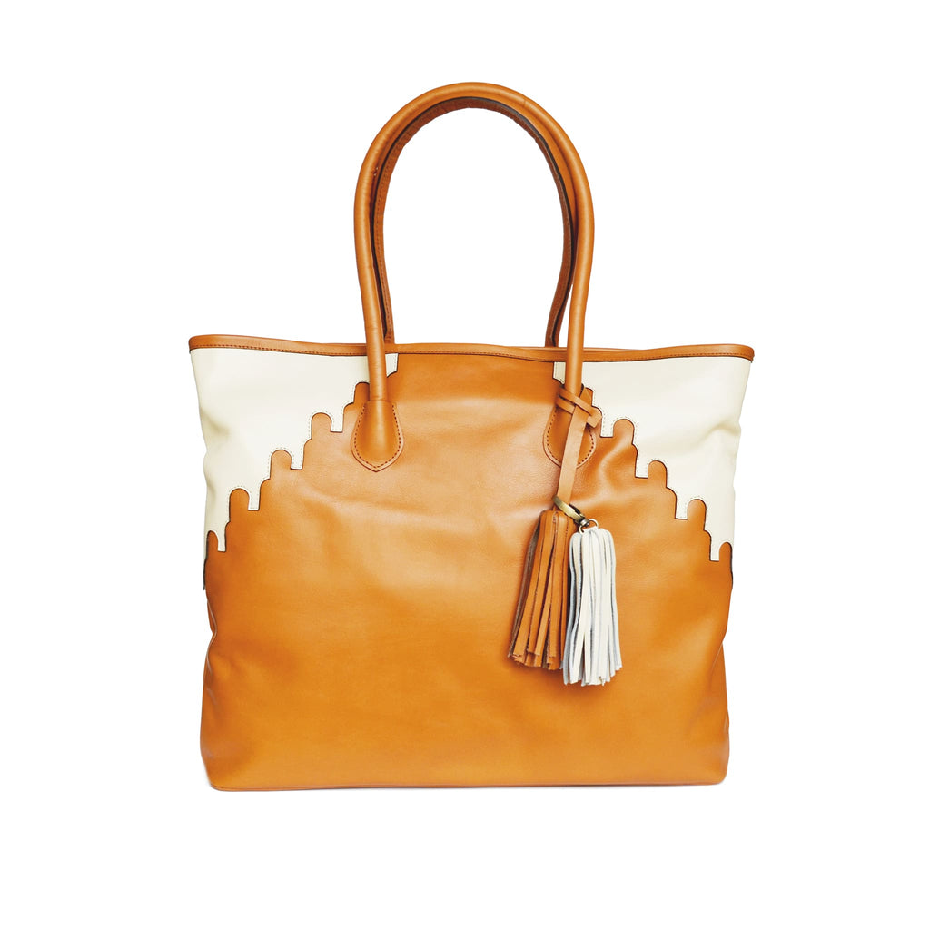 front view abury rabbia camel leather shopper tote bag