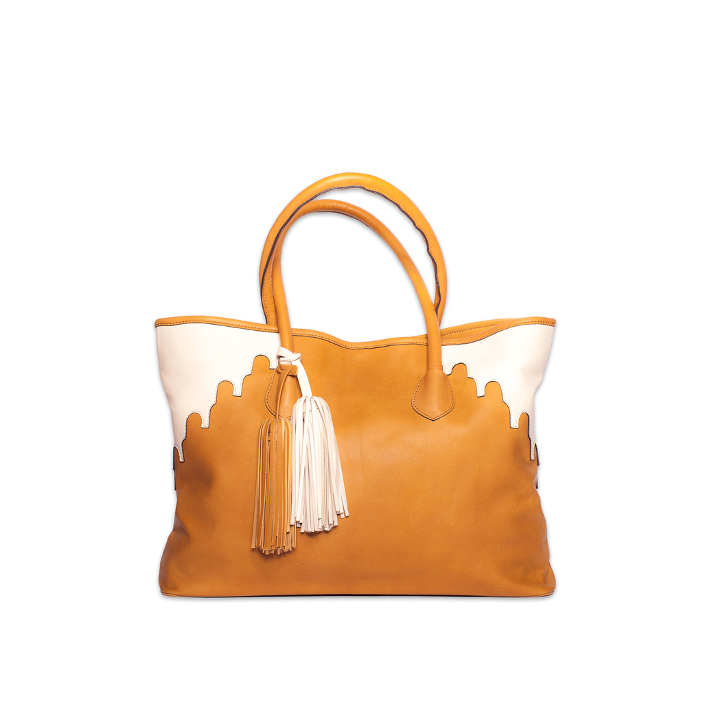 fc2322f7dec Camel and Cream Rabbia Leather Tote Bag by ABURY Collection