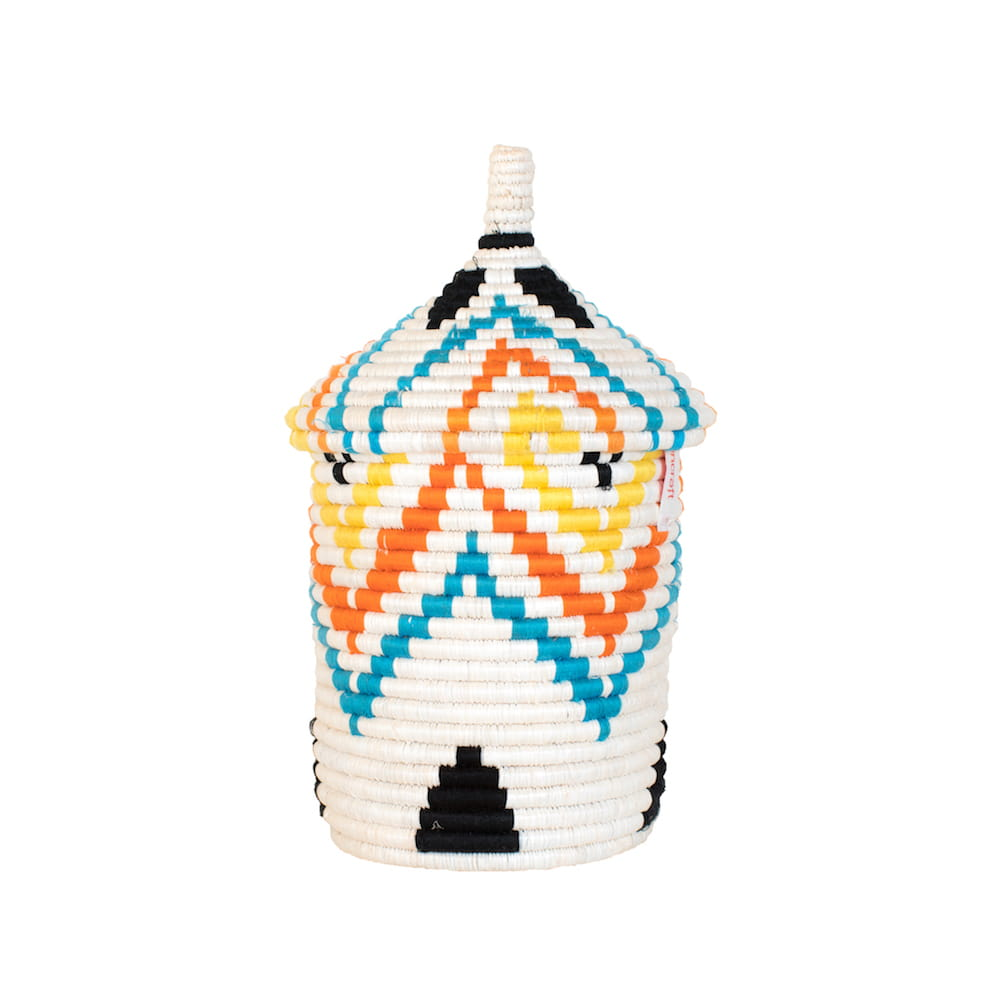 Multicoloured Basket with black details or Multicoloured Basket with pyramid pattern - Tanzania Handmade - front shot