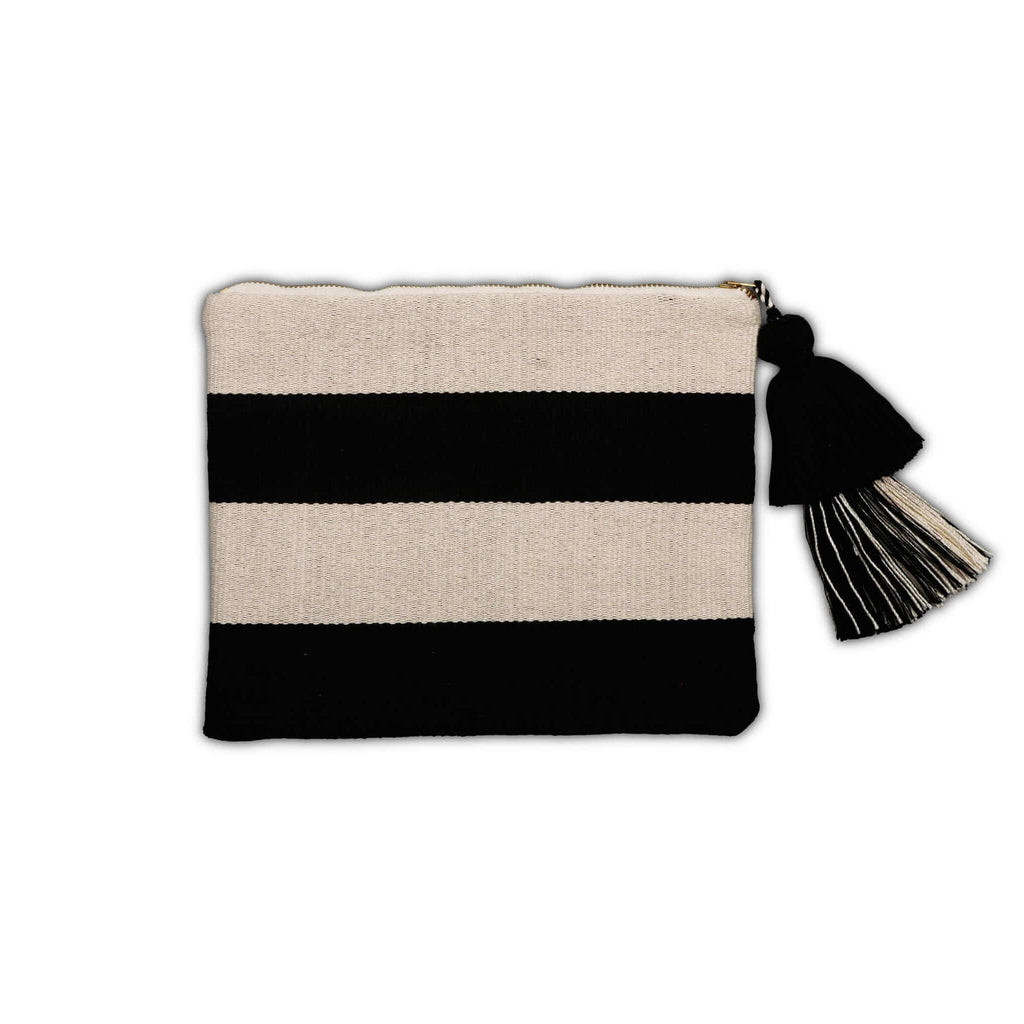 Black and White Cotton Pouch with Horizontal Stripes