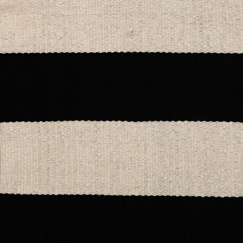 close up on Black and White Cotton Pouch with Horizontal Stripes from Peru
