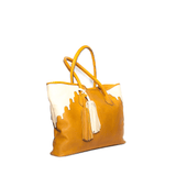 Rabbia Camel Leather Tote Bag side view