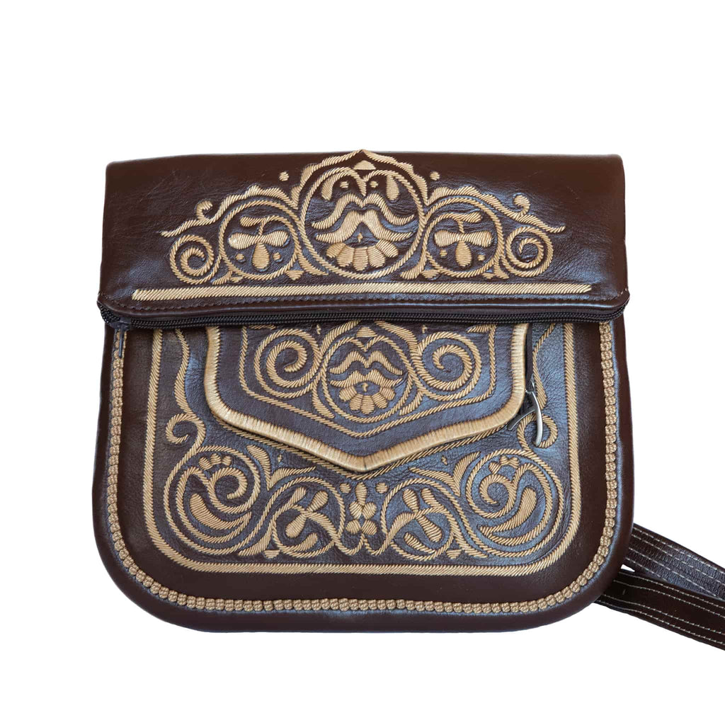 limited edition front view of brown and beige embroidered ABURY Leather Berber Shoulder Bag