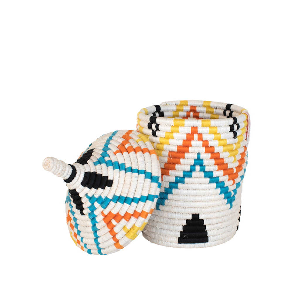 Multicoloured Basket with black details or Multicoloured Basket with pyramid pattern - Tanzania Handmade - front shot open