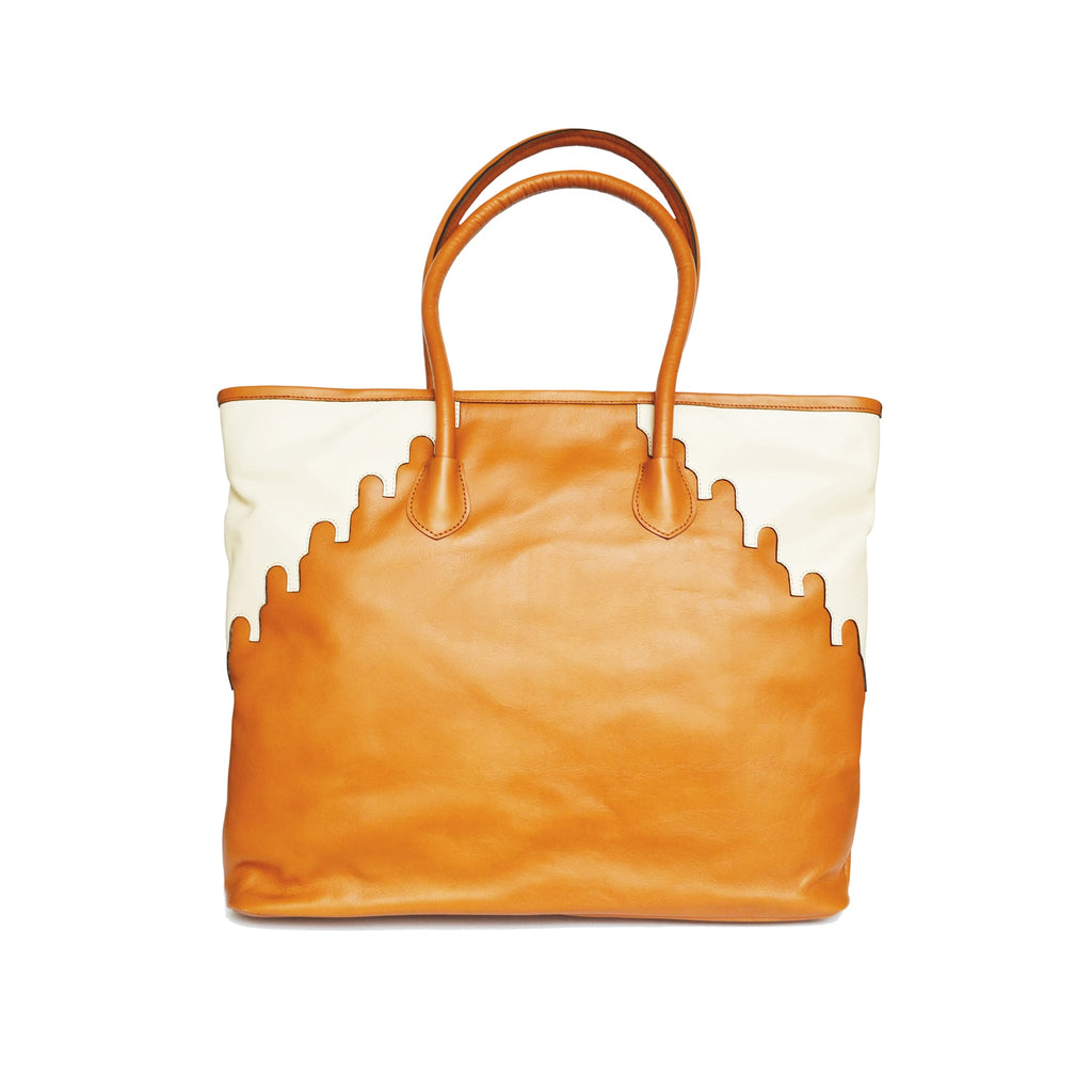 back view abury rabbia camel leather shopper tote bag
