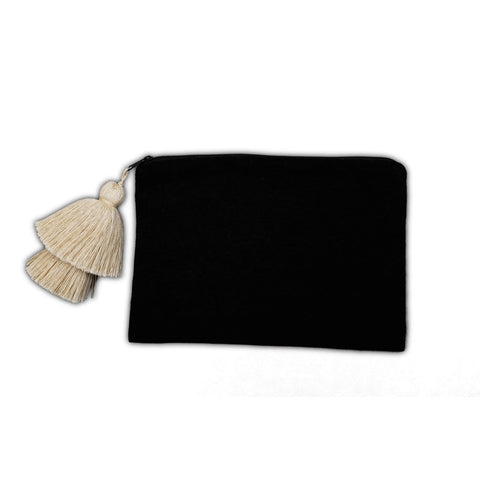 Striped Cotton Pouch with Tassel in Black, Beige