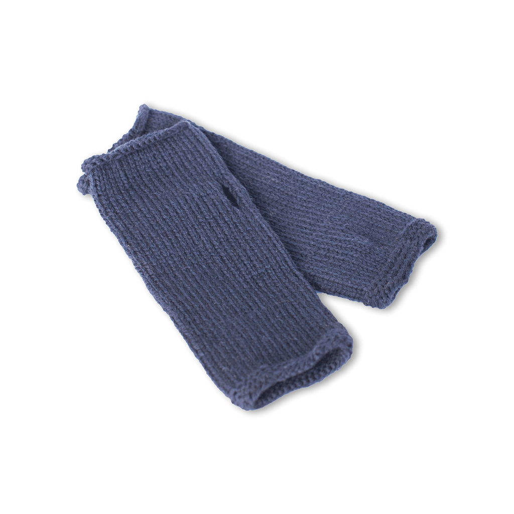 Navy Blue Finger-less Alpaca Gloves - handmade Accessories from Alpaca Wool - ABURY Collection Ecuador