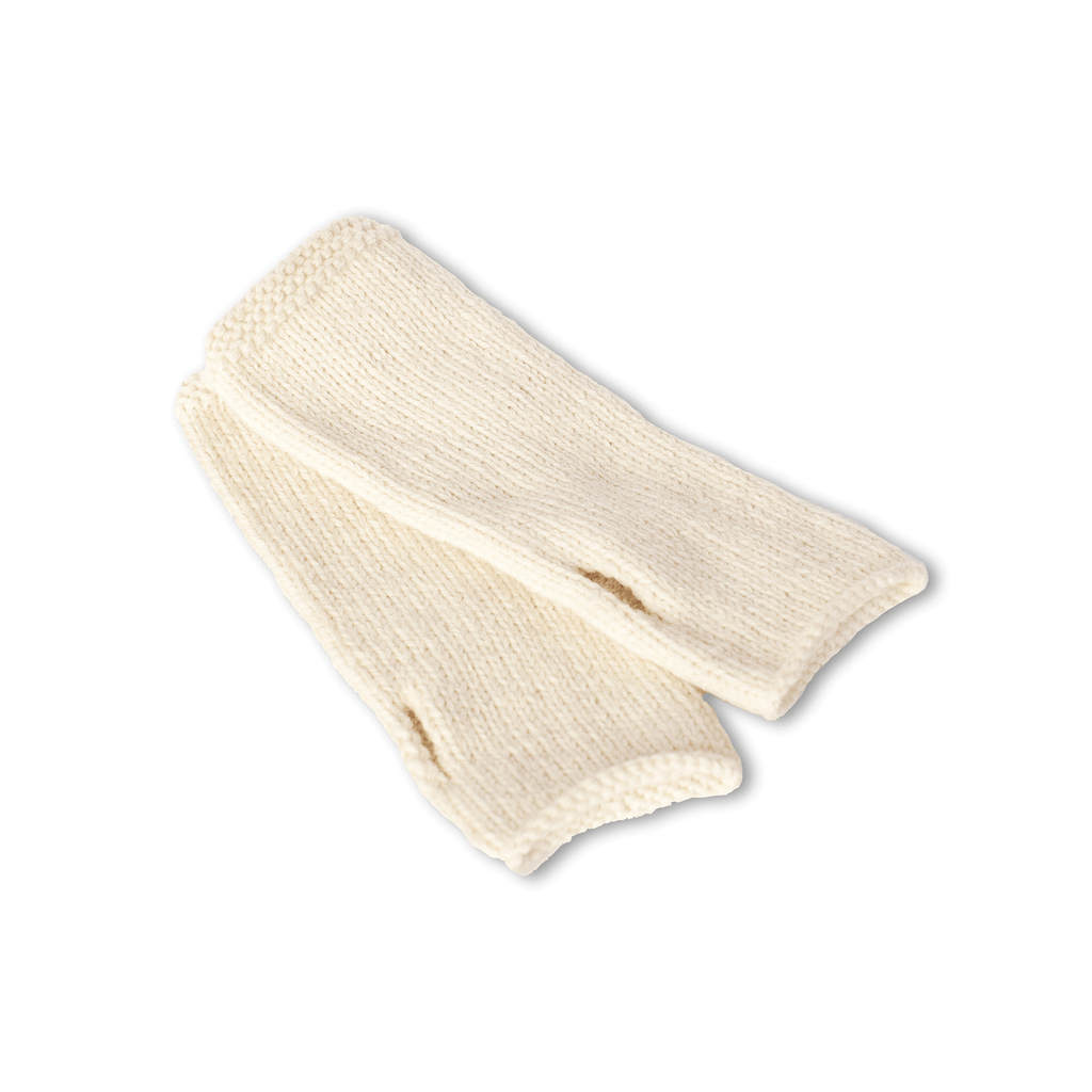 Ivory Finger-less Alpaca Gloves - handmade Accessories from Sheep Wool - ABURY Collection Ecuador