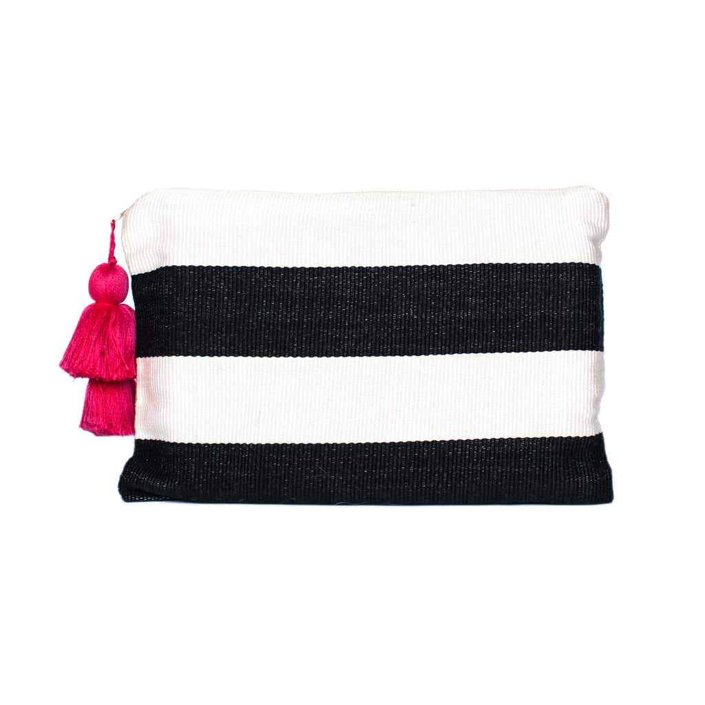 Black and White Cotton Pouch with Horizontal Stripes and Pink Tassel