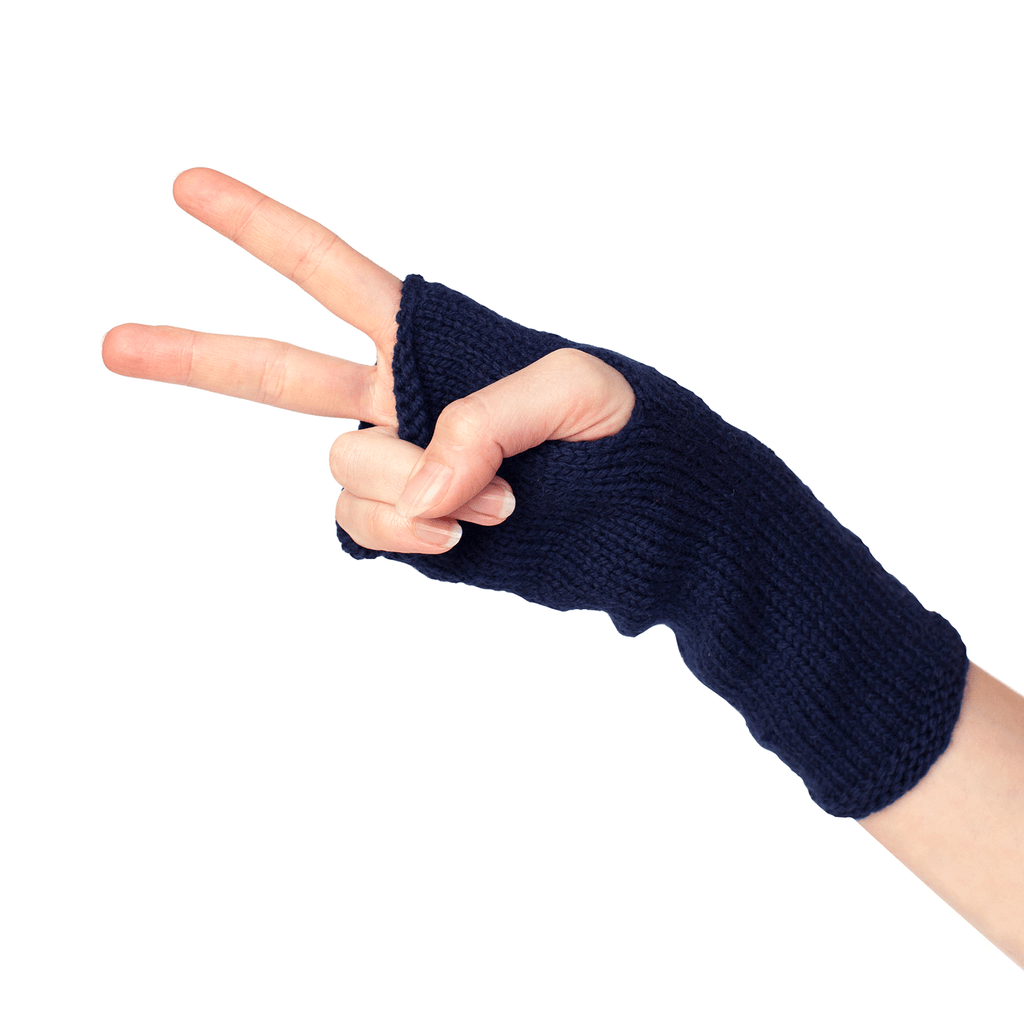 Hand Model Navy Blue Finger-less Alpaca Gloves - handmade Accessories from Sheep Wool - ABURY Collection Ecuador