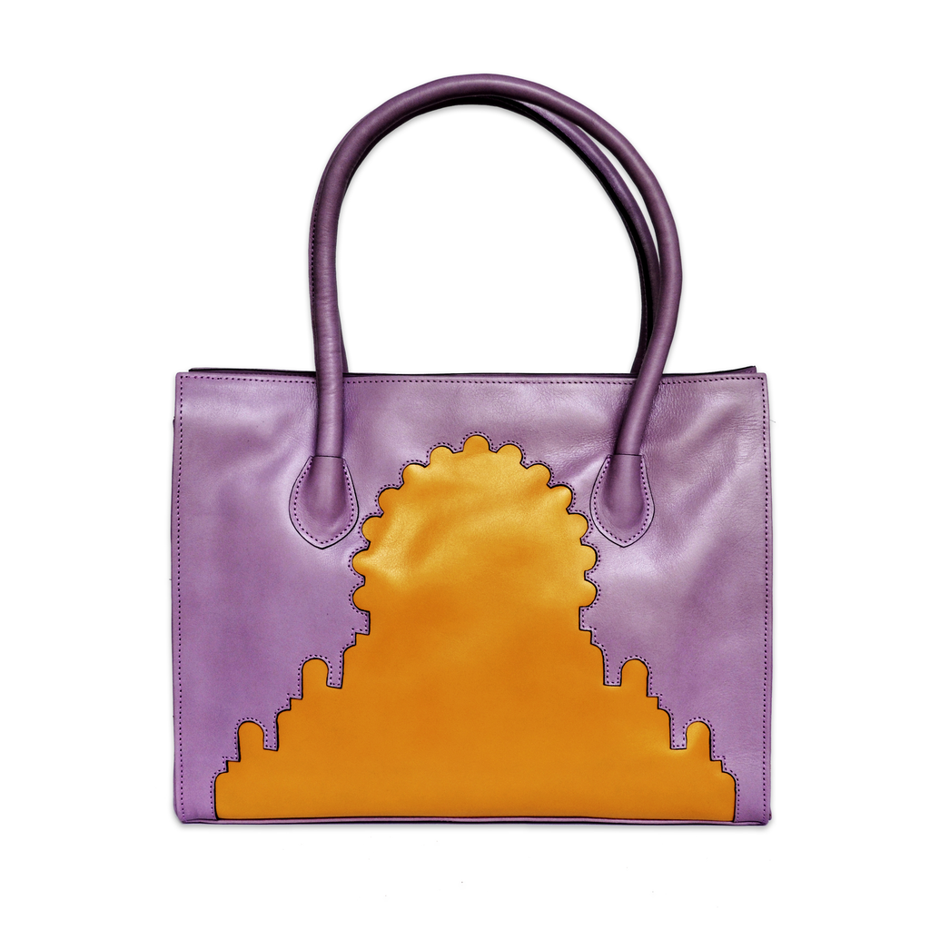 Asmaa Purple Leather Business Bag back view