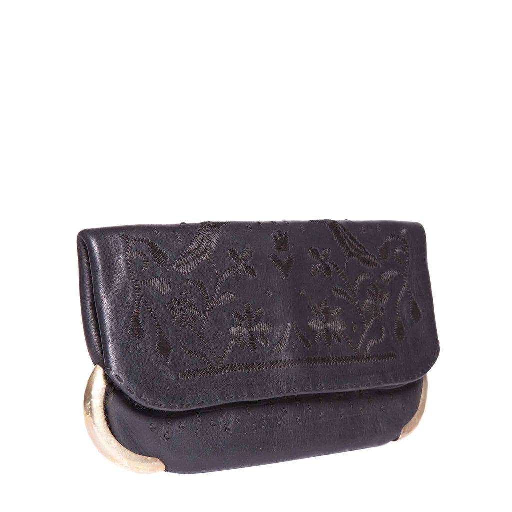 side view abury black lovebirds clutch bag