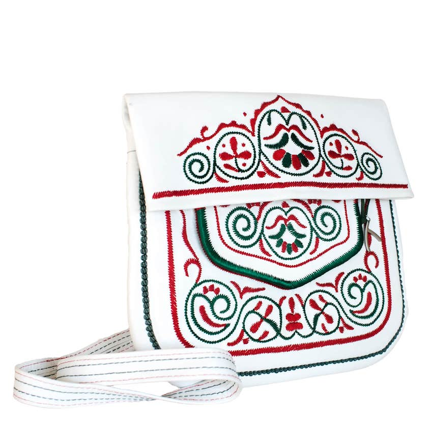 Side view of Leather berber bag in white, red and green by ABURY