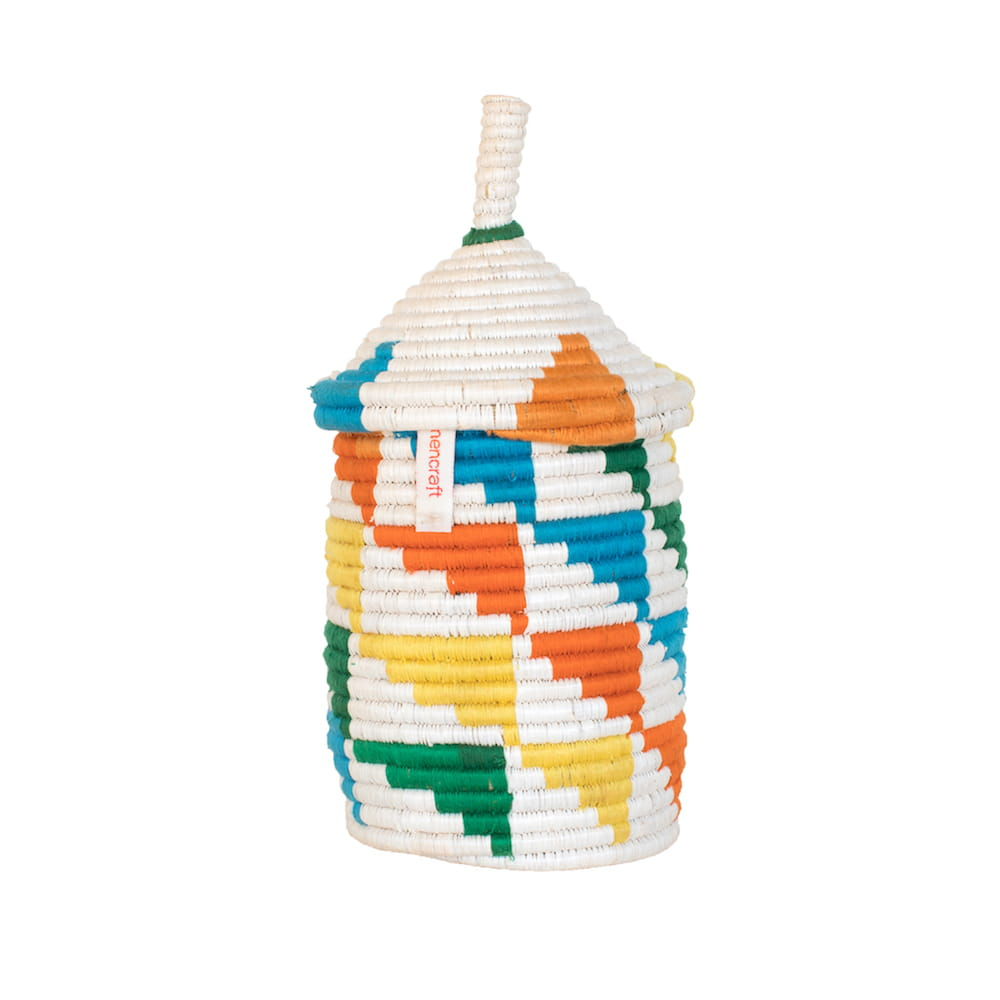 Handmade Multicoloured Basket with triangle pattern - Green - colourful - font shot