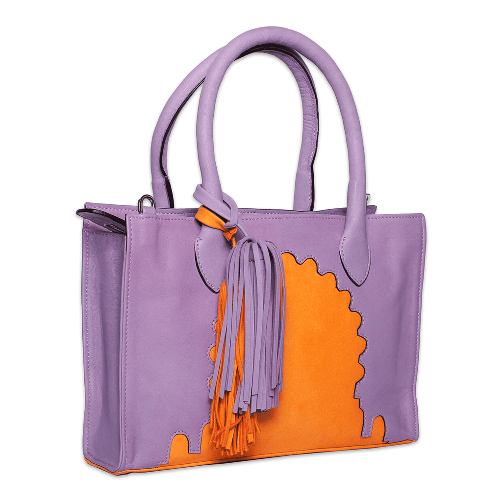 Asmaa Purple Leather Business Bag side view
