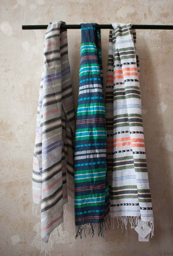 sabahar striped cotton scarfs in different colours hanging