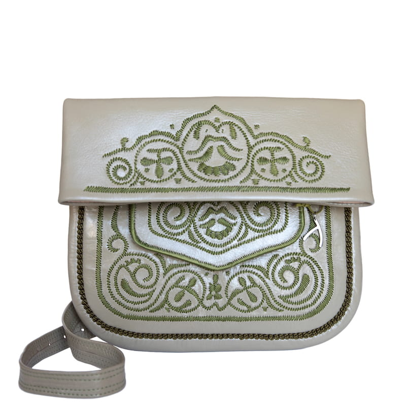 Embroidered Leather Berber Bag in Khaki Green