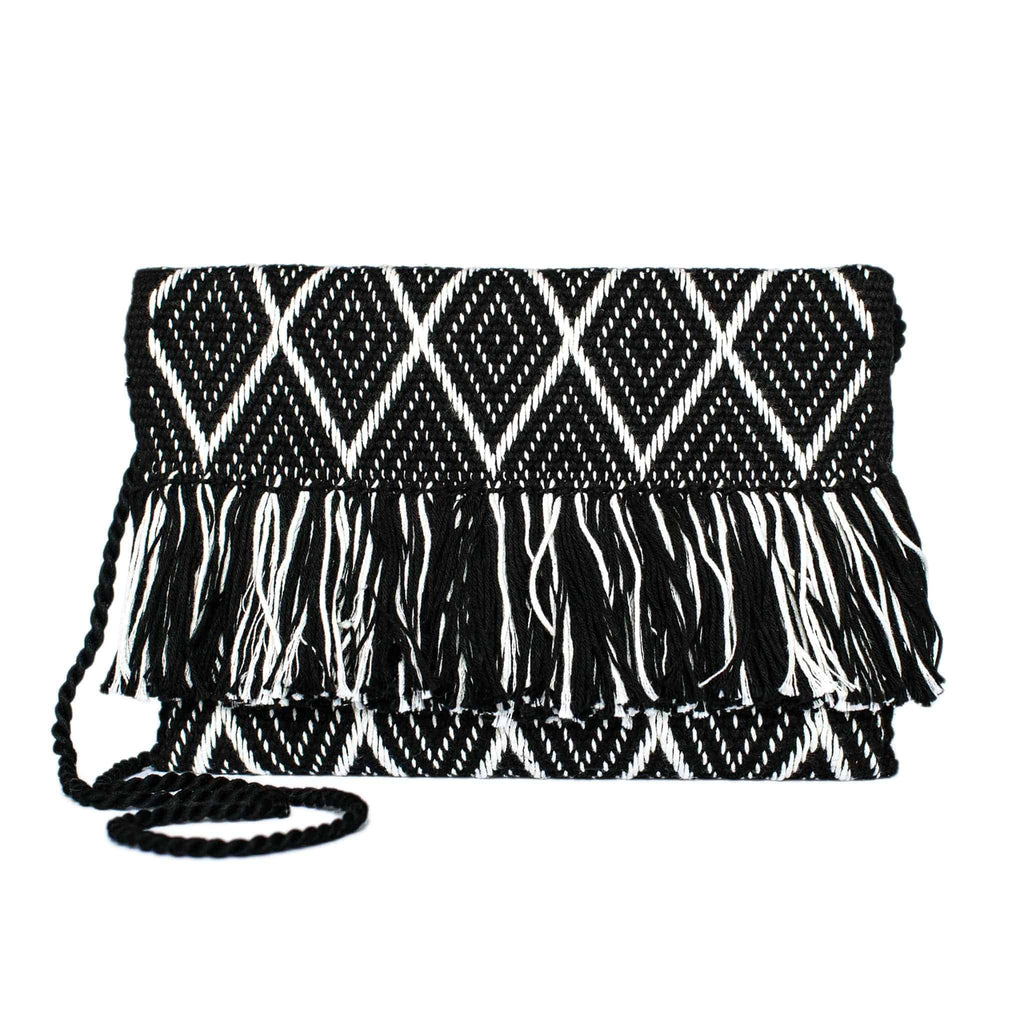 front view white and black abury zigzag cotton clutch bag