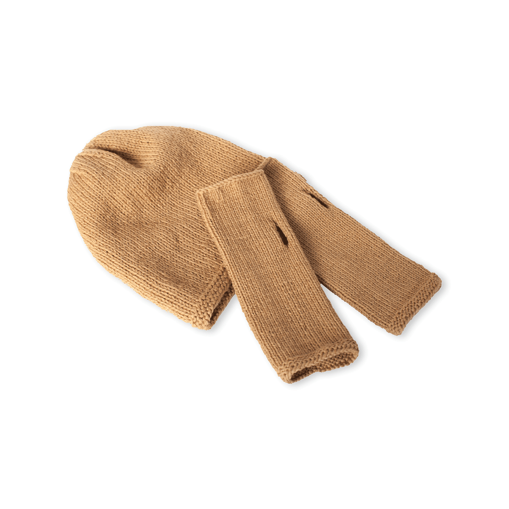 Sand Beanie and Finger-less Alpaca Gloves Set - Winter Accessories - ABURY Collection Ecuador