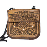 front view of handmade brown vintage leather shoulder bag