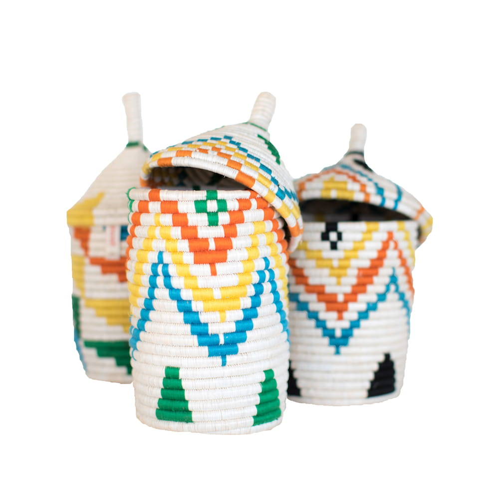 Multicoloured Basket with black details or Multicoloured Basket with pyramid pattern - Tanzania Handmade - colourful
