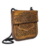 side view handmade eco-friendly brown vintage leather shoulder bag