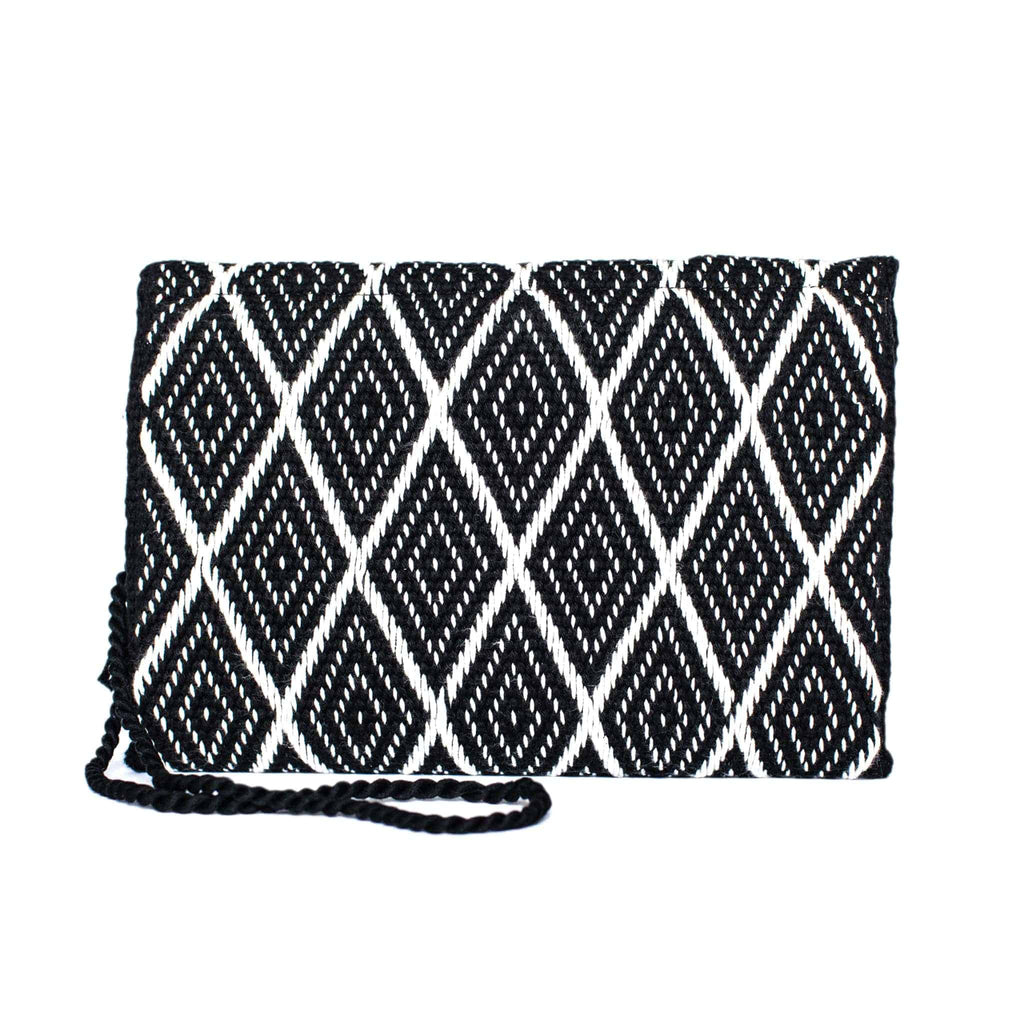 back view white and black abury zigzag cotton clutch bag
