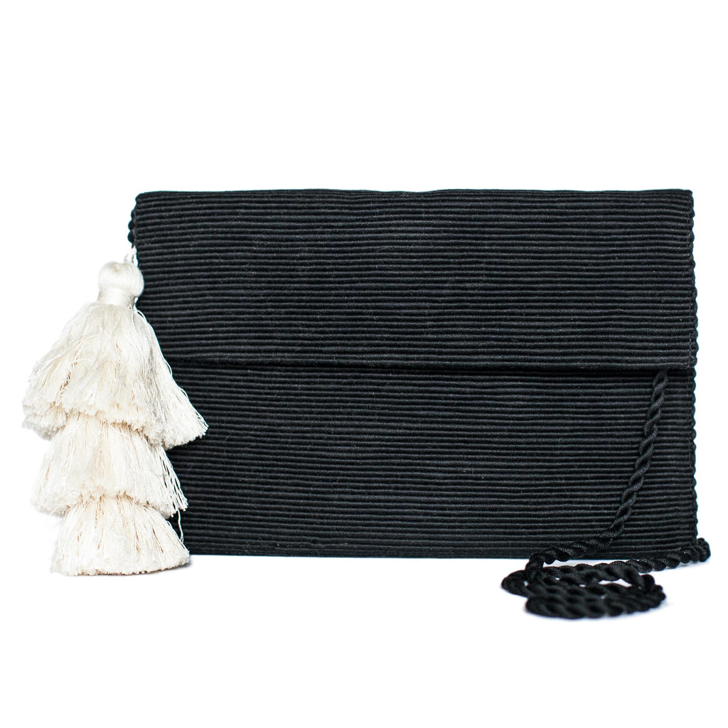 front view Black Cotton Clutch with White Tassel
