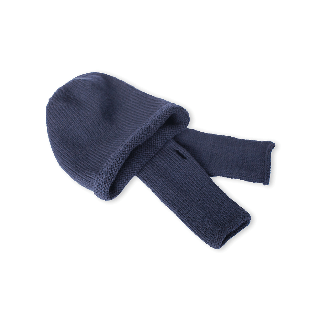 Navy Blue Beanie and Finger-less Alpaca Gloves Set - Winter and Autumn Accessories - ABURY Collection Ecuador