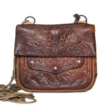 front view handmade brown vintage leather shoulder bag NUR