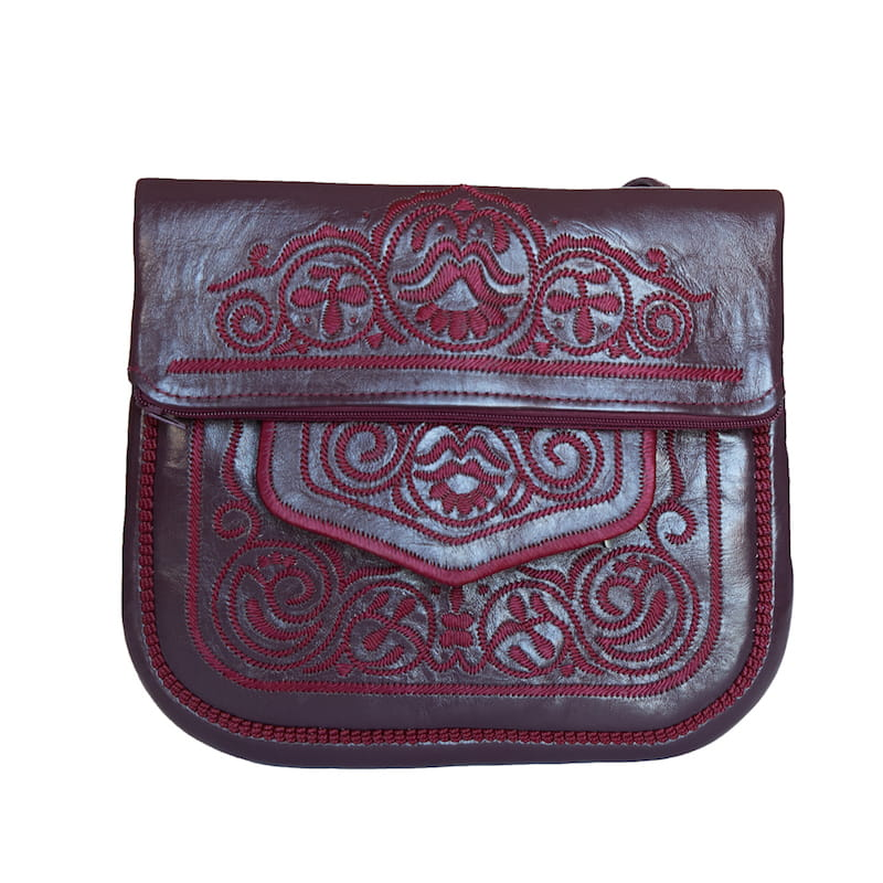 limited edition front view of mauve embroidered ABURY Leather Berber Shoulder Bag