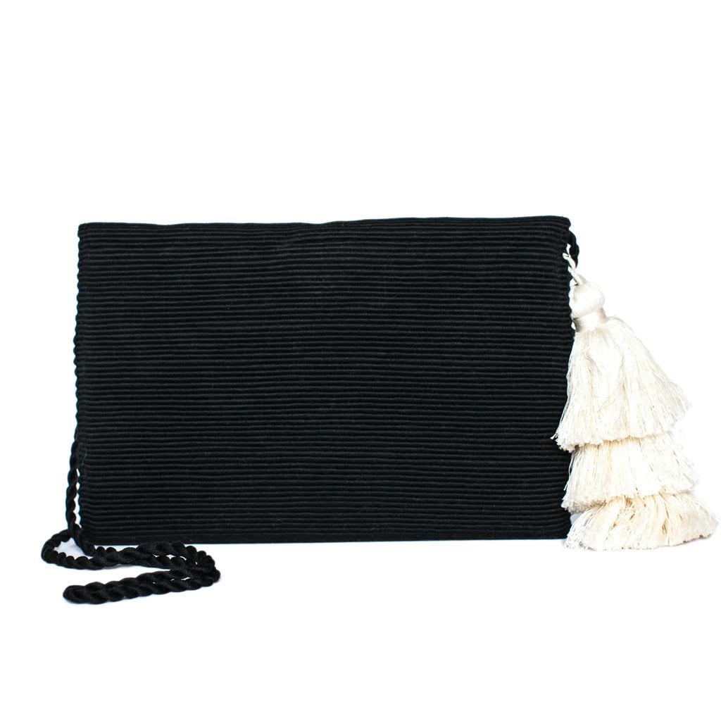 back view Black Cotton Clutch with White Tassel