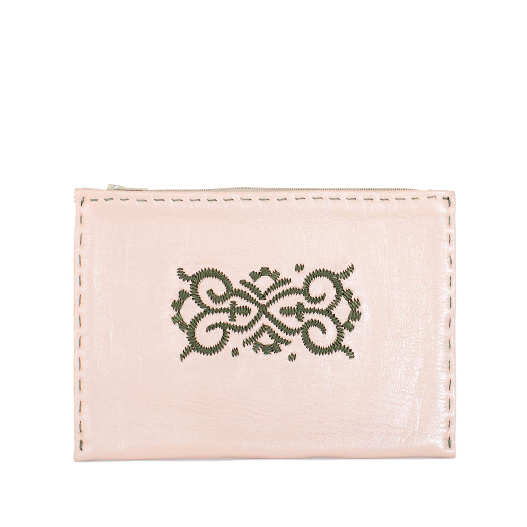 Front View Rosé and Khaki Embroidered Leather Pouch