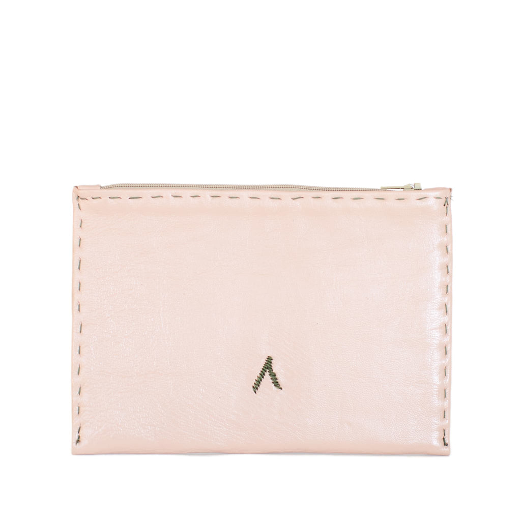 Back View Rosé and Khaki Embroidered Leather Pouch