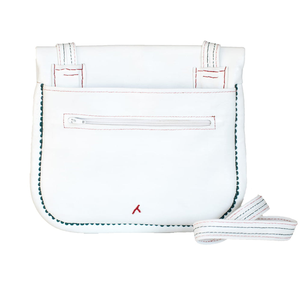 Back view of Leather berber bag in white, red and green by ABURY