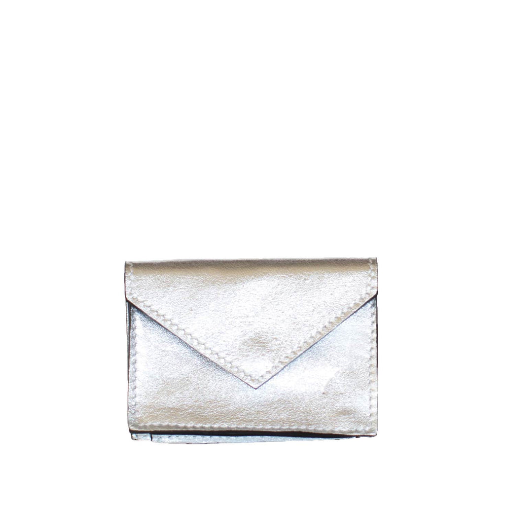 Front View Silver Leather Card Holder Wallet - Card Holders - ABURY Collection
