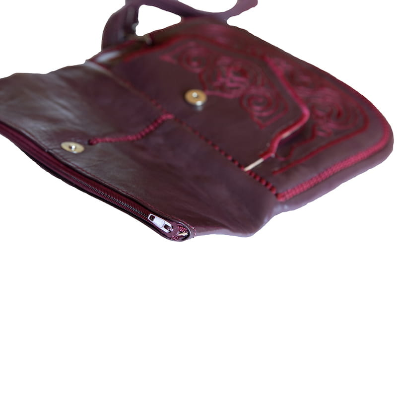 limited edition open view of mauve embroidered ABURY Leather Berber Shoulder Bag